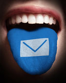 Woman with open mouth spreading tongue colored in email icon as — Stock Photo