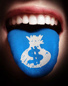 Woman with open mouth spreading tongue colored in money bag as c — Stock Photo