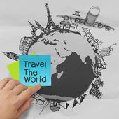 Crumpled paper and traveling around the world as vintage style c — Stock Photo