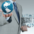 Businessman hand showing the earth with Internet security onlin — Stock Photo