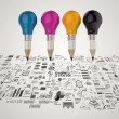Creative design business as pencil lightbulb 3d as business desi — Stock Photo