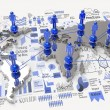 Social network 3d on world map and hand drawn business strategy — Stock Photo #39407467