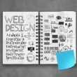 Book of hand drawn web design diagram background as concept — Stock Photo #39409611