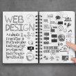 Book of hand drawn web design diagram background as concept — Stock Photo #39409623