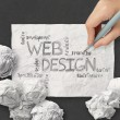 Hand drawn web design diagram on crumpled paper background as c — Stock Photo #39409681