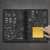 Nota de mano empuje sobre el libro dibujado mano de éxito empresarial st — Foto de Stock