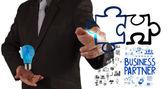 Biznesmen strony rysunku partnerstwa logiczne pojęcia — Stok fotoğraf