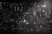 Hand gezeichneten Geschäftsstrategie auf dunkle Textur Hintergrund als conce — Stockfoto