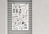 Business concept on poster with composition wall with steel fram — Stock Photo