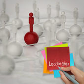 Sticky note and leadership 3d human social network on crumpled p — Stock Photo