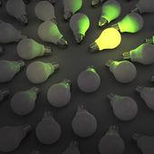 Concepto idea y liderazgo creativo con bombilla de luz verde 3d — Foto de Stock