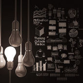 Light bulb 3d on business strategy background as concept — Stock Photo