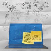用一只手的膝上型计算机绘制的网站设计图标作为概念 — 图库照片