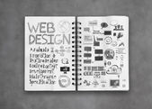 Book of hand drawn web design diagram background as concept — Stock Photo