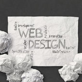 Hand drawn web design diagram on crumpled paper background as c — Stock Photo