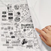 Hand drawn business strategy on crumpled paper background — Photo