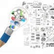 Creative design business as pencil lightbulb 3d as business stra — Stock Photo