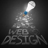 Creative design hand drawn web icon as pencil lightbulb brain 3d — Stock Photo