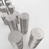 Stack of coins dollar sign 3d — Stock Photo