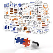 Puzzles in light bulb and business strategy as concept — Stock Photo