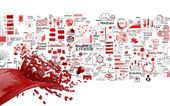3D paint red color splash and hand drawn business strategy backg — Stock Photo