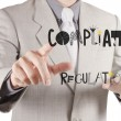 Stock Photo: Businessmhand pointing to Compliance Regulation designwords a
