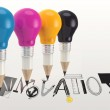 Hand drawn graphic word INNOVATION and 3d pencil light bulb as c — Stock Photo #41779887
