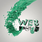 3D paint color splash with design word WEB DESIGN  as concept — Stock Photo