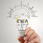 Hand drawing light bulb and IDEA word design as concept — Stock Photo