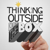 Businessman hand drawing design word THINKING OUTSIDE OF THE BOX — Stock Photo