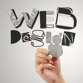 Business man hand drawing web design diagram as concept — Stock Photo