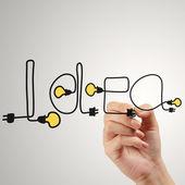 Detail ruční psaní myšlenku design žárovku jako koncept — Stock fotografie