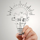 Hand drawing light bulb and CONTENT word design as concept — Stock Photo
