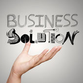 Hand showing design word business solution as concept — Stock Photo