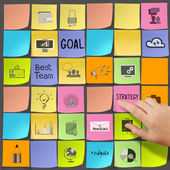 Business hand push  icons of business strategy on sticky note a — Stock Photo