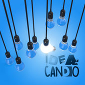 Hand drawn graphic word IDEA CAN DO and 3d light bulb as concept — Stock Photo