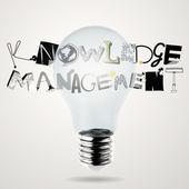 Lampadina 3d e design parola knowledge manegement come concetto — Foto Stock