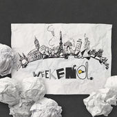 Crumpled paper and traveling around the world with word weekend  — Stock Photo