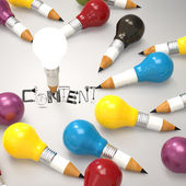 Design word CONTENT and pencil lightbulb 3d as concept — Stock Photo
