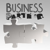 Hand drawn graphic word BUSINESS PARTNER and 3d puzzle as concep — Stock Photo