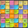 Hand drawn words icons of business strategy on sticky note as co — Stock Photo