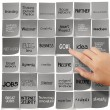 Hand pushing GOAL words icons of business strategy on sticky not — Stock Photo