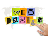 Hand touch drawing web design on sticky note and world map backg — Stock Photo