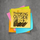 Hand drawn THINKING OUTSIDE OF THE BOX on sticky note and textur — Stock Photo