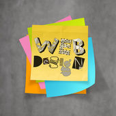 Hand drawn WEB DESIGN on sticky note and texture  background as  — Stock Photo
