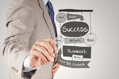Businessman hand drawing SUCCESS business diagram on paper borad — Stock Photo