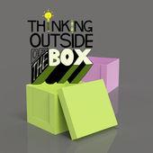 öffnen sie im feld 3d und design wort denken außerhalb der box als conce — Stockfoto