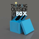 Open box 3d and design word THINKING OUTSIDE OF THE BOX as conce — Stock Photo