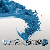 3D paint color splash with design word WORKSHOP as concept — Stock Photo