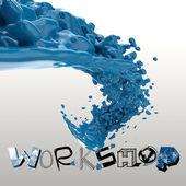 3D paint color splash with design word WORKSHOP as concept — Stock Photo